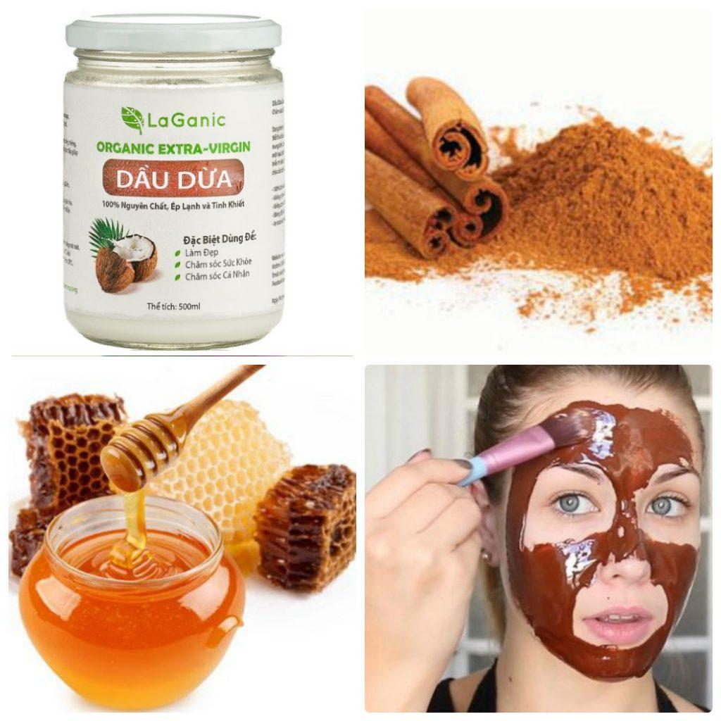 dầu dừa, bột quế, mật ong