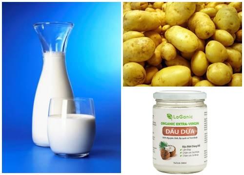 các thành phần sữa tươi, khoai tây và dầu dừa